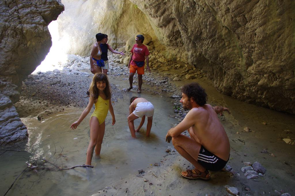 "Kids and grown-ups climb up the Fonissa (=""murderess"") gorge"